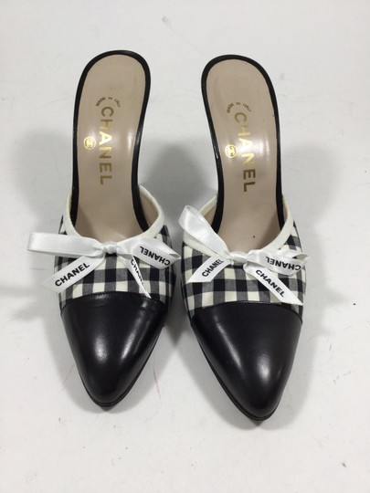 Chanel Heels Gingham Mules