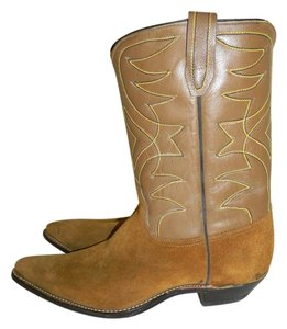 Acme Women's Vintage Tan Buck Nude Suede Leather Cowboy Western 10 C Wide Brown Boots