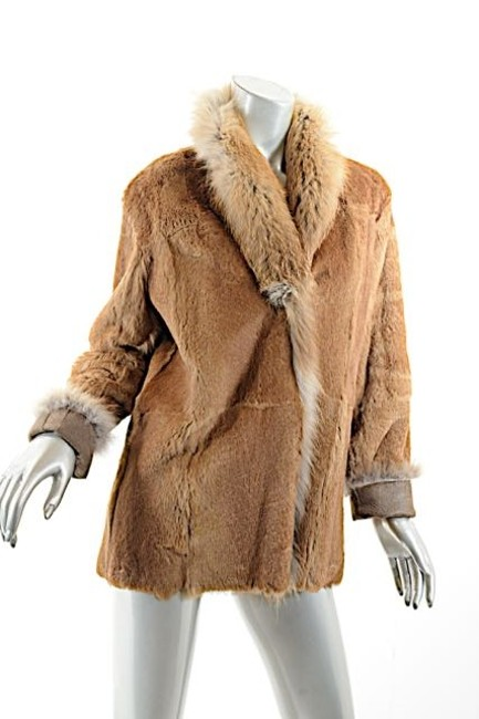 Other Shearling Fox Rabbit Brown Leather Jacket