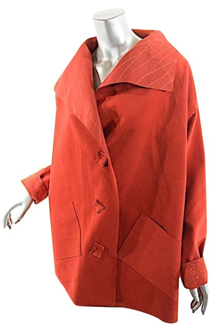 Preload https://item1.tradesy.com/images/red-hand-made-hand-painted-ultra-suede-leather-jacket-size-10-m-10428955-0-1.jpg?width=400&height=650