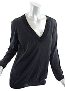 Brunello Cucinelli Linen Silk Sequin V-neck Sweater