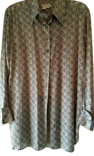 Ann Taylor French Cuffs Silk Top Black print
