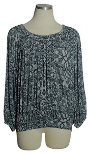 Free People Knit Soft Blouson Peasant Top Gray