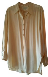 Ann Taylor Silk French Cuffs Top Cream