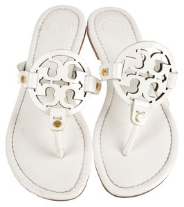 9240e84c2332a Tory Burch Ivory Patent Patent Leather Flat Reva Logo Miller Monogram Cut  Out Embellished Textured 6.5