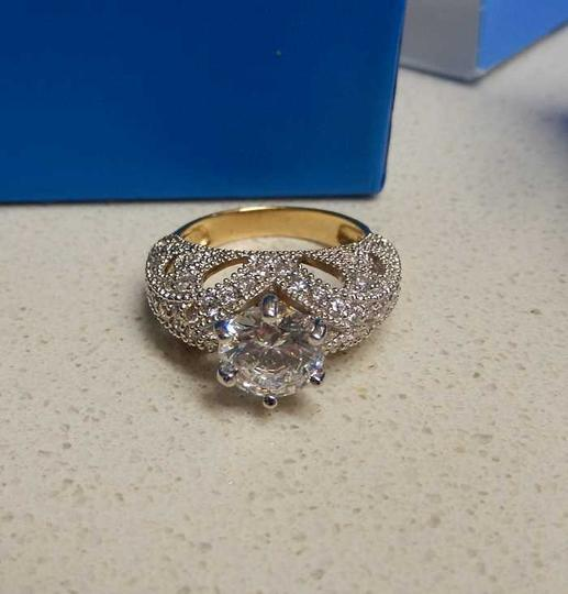Victoria Wieck White Sterling Gold Vermeil Cz Fancy 5 Engagement Ring