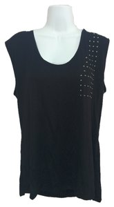 Rachel Roy Shirt Sleeveless Blouse Studded Xxl Top Black