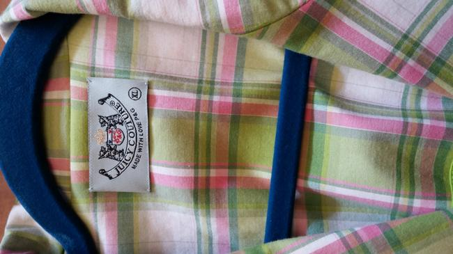 Juicy Couture Plaid-pink, white, green Blazer