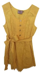 Juicy Couture Smocked Linen Linen Embroidered Top Yellow