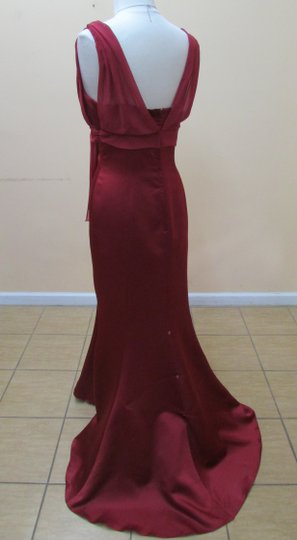 Alfred Angelo Claret Satin Chiffon 6353 Modern Bridesmaid/Mob Dress Size 12 (L)