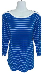 Style & Co Shirt & Stripes Striped 3/4 Sleeves Knit Xl Top Blue & white