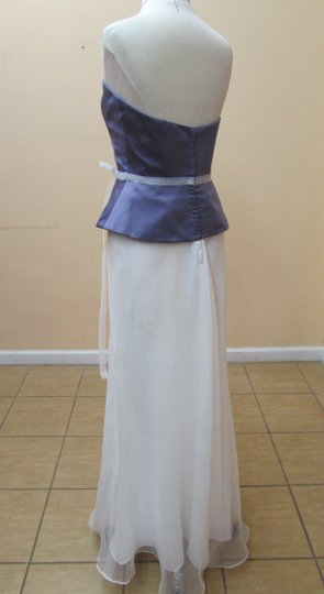 Alfred Angelo Victorian Lilac / Ivory Satin 6454 Modern Bridesmaid/Mob Dress Size 8 (M)