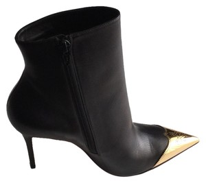 Christian Louboutin Leather Elegant Dressy Black with gold tip Boots