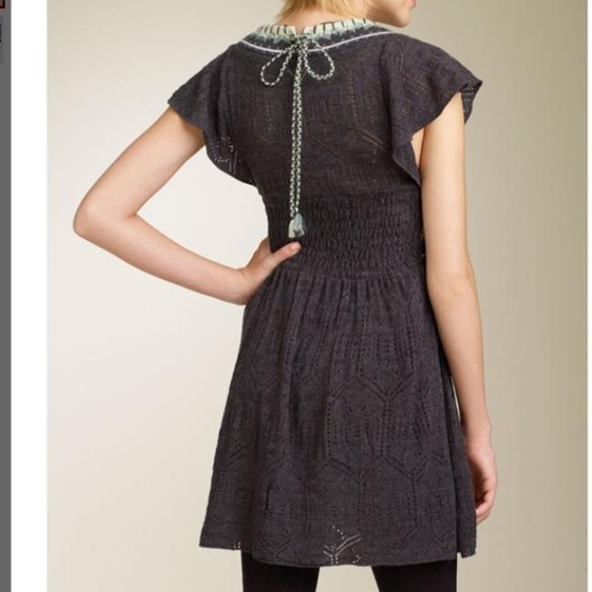 Free People short dress grey Knit Empire Waist Crochet Hygge Bohemian on Tradesy