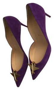 Christian Louboutin Elegant Suede Dressy Violet/Gold Mules