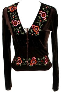 Hale Bob Embroidered Velvet Top Brown