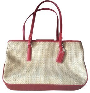 Preload https://item3.tradesy.com/images/coach-summery-cream-and-red-leather-raffia-tote-10431652-0-1.jpg?width=440&height=440