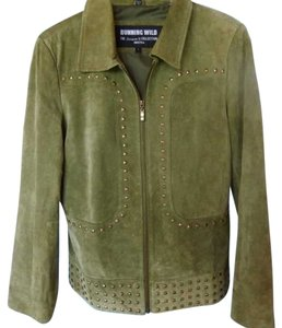 Running Wild Studs Suede Leather Western Olive Leather Jacket