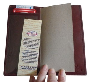 NEW GENUINE LEATHER MARSHAL Checkbook Cover BURGANDY