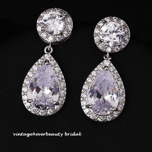 Cubic Zirconia Wedding Earrings /rhodium Plated