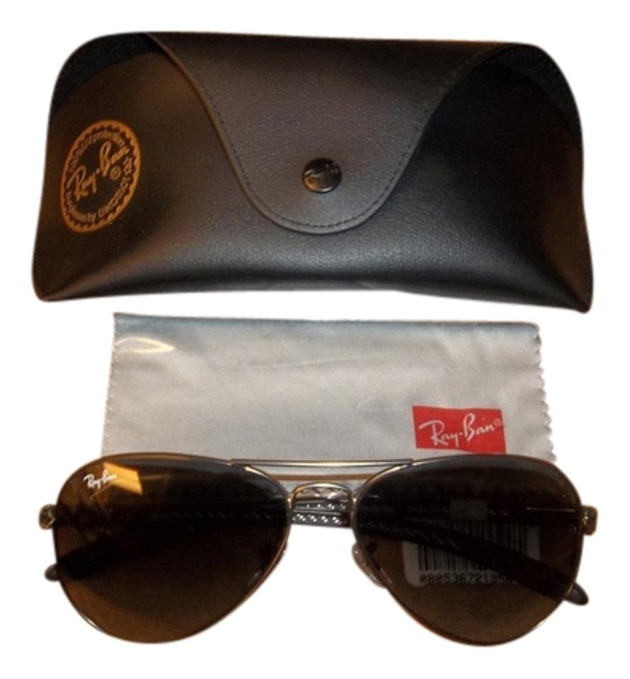 8f10fcef6a3 Ray-Ban Black Gray New Rb8307 58-14 Aviator Carbon Fibre Gun Sunglasses