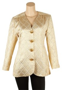 Saint Laurent Ysl Viscose Gold Blazer