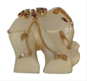 Indian Artist SALE PRICE: NEW! Elephant Pendant With Rubys, Emeralds and Sapphires and 14K Gold