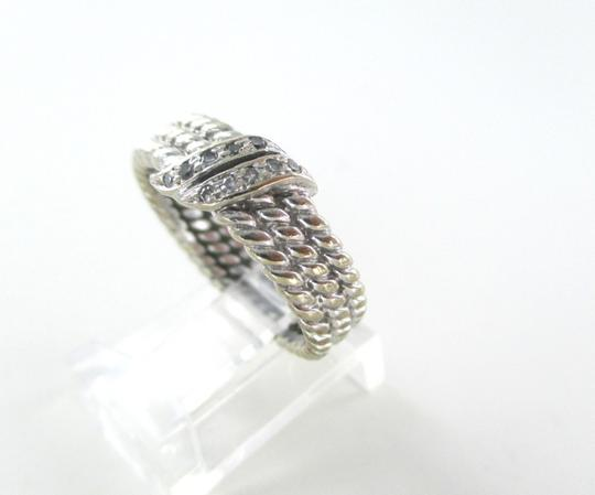 Other 14KT WHITE GOLD RING 10 DIAMONDS .15 CARAT ROPE BEADED 5.7 GRAMS SZ 7 WEDDING