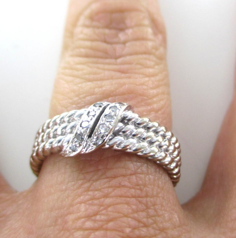 Other 14kt White Gold Ring 10 Diamonds 15 Carat Rope Beaded 57 Grams  Sz 7