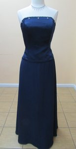 Alfred Angelo Navy Satin Chiffon 6480 Modern Bridesmaid/Mob Dress Size 14 (L)