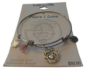 LOVE THIS LIFE NEW LOVE THIS LIFE PLACE I LOVE STAINLESS STEEL ADJUSTABLE BANGLE BRACELET