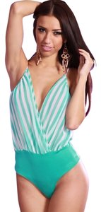 amiclub wear Bodysuit Club Summer Striped Aqua Bold Juicy Freepeople Sevenjeans Citizenshumanity Jeans Shirts Halter Party Top