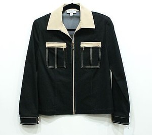 St. John John Sport Stretch Denim Tan Trim Fa Grp 1 Black Jacket