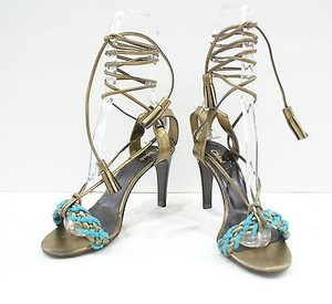 Chloé Chloe Bronzegold Turquoise Strappy Metallic Braid Sandal Ankle Tie Multi-Color Pumps