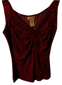 Candie's Top reddish maroon and black
