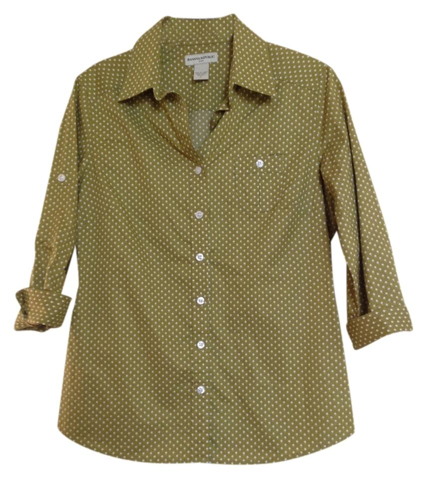 022ee050 Banana Republic Blouse Small Women Button Down Shirt Green with White Print  Image 0 ...
