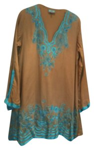 TAJ by Sabrina Crippa short dress Tan with teal on Tradesy