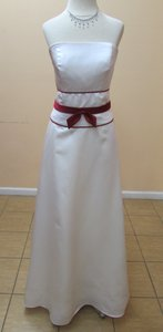 Alfred Angelo Ivory / Claret Satin 6552 Modern Bridesmaid/Mob Dress Size 6 (S)