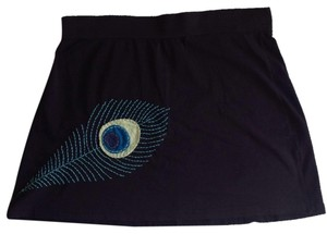 Synergy Organic Clothing Mini Skirt Black with stitched feather