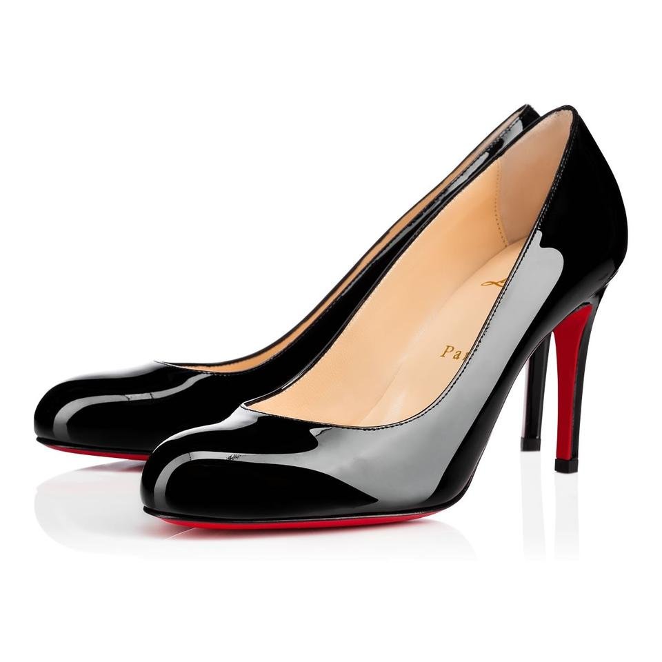 Christian Louboutin Black Classic Simple 85mm Patent Leather Round Toe Heels  Pumps