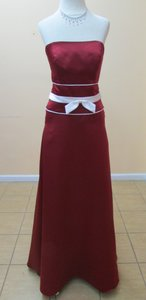 Alfred Angelo Claret / Ivory Satin 6552 Modern Bridesmaid/Mob Dress Size 12 (L)