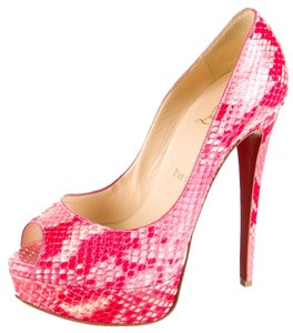 Christian Louboutin Pink White Multicolor Pink, Red Pumps