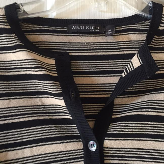 Anne Klein Button Down Shirt Black w/beige stripes