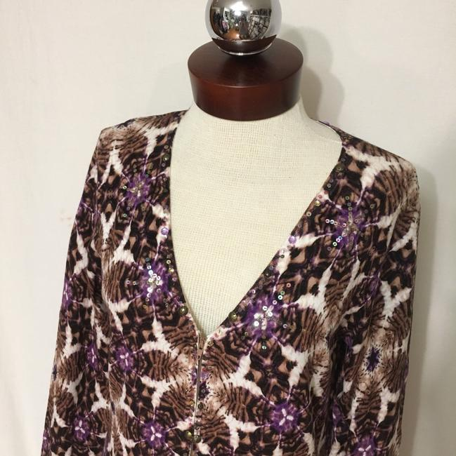 Alberto Makali Zipper Zip Zip Designer Sequin Embellished Lightweight Sweater Medium Cardigan