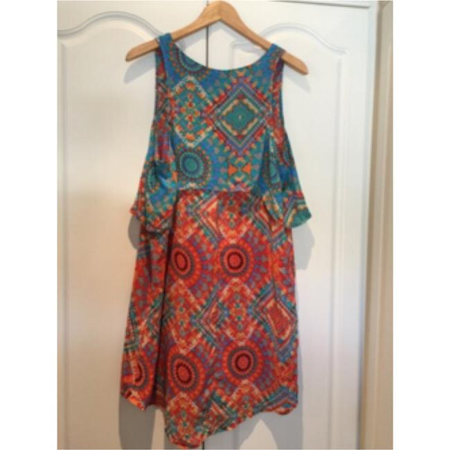 Tolani short dress Teal and Orange print on Tradesy