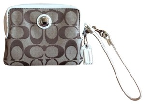 Coach Purse Wristlet in Khaki/white