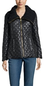Via Spiga Quilted Knit Collar Black Jacket