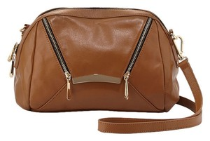 Rian Berry Leather Gold Hardware Edgy Eclectic Cross Body Bag