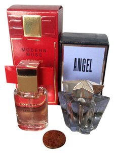 Thierry Mugler MINIATURE COLLECTION THIERRY MUGLER Angel Star 5 ml 0.17 fl oz & Este Lauder Modern Muse Le Rouge 0.14 fl oz 4 ml new on the box