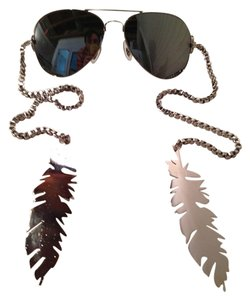 Gomer Silver Feather Mirrored Sunglasses